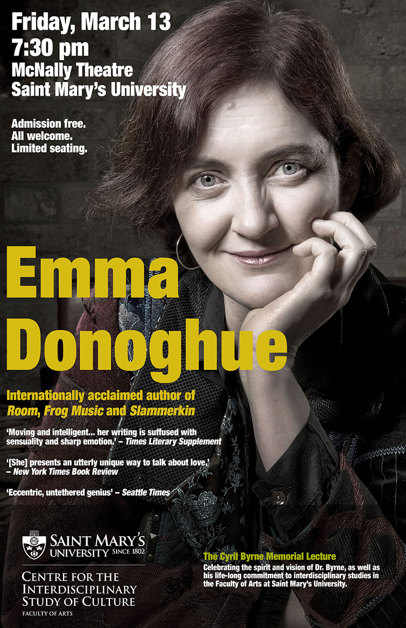 9th Annual Cyril Byrne Memorial Lecture will be Emma Donoghue author of The Room.