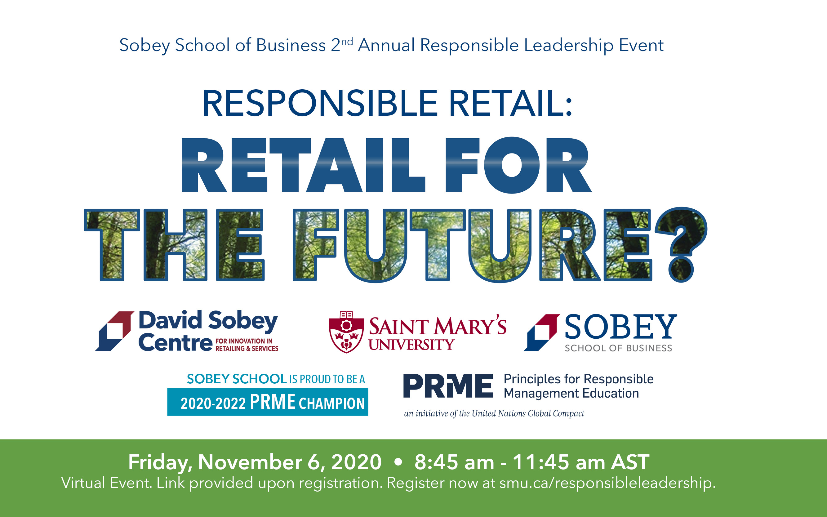 Sobey School Responsible Leadership Event, Friday, Nov. 6, 8:45am. Register now.