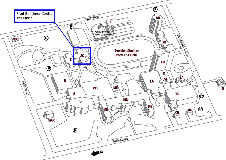 Fred Smithers Centre Map showing the location in the Student Centre
