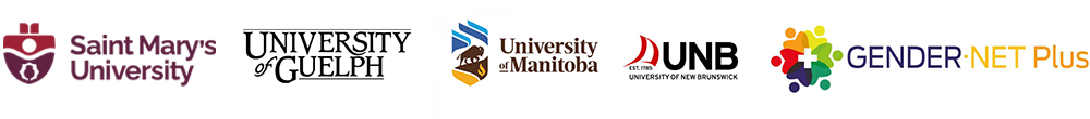 University logos of Saint Mary's, University of Guelph, University of Manitoba, University of New Brunswick and GenderNet Plus